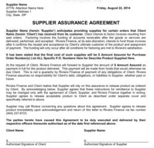 credit enhancement supplier assurance letters riviera finance